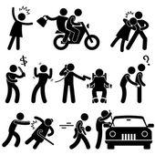 Criminele rover inbreker ontvoerder verkrachter dief pictogram symbool teken pictogram — Stockvector