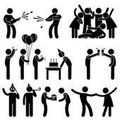 Amigo festa festa aniversário ícone símbolo sinal pictograma — Vetorial Stock