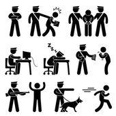 Ochroniarz policjant złodziejem ikony symbol znak piktogram — Wektor stockowy