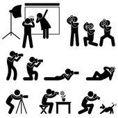 Fotoğrafçı kameraman paparazzi poz poz simgesi simgesi işareti sembol — Stok Vektör