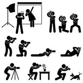 Photographer Cameraman Paparazzi Pose Posing Icon Symbol Sign Pictogram — Stok Vektör