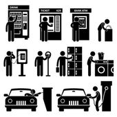 Man using Auto Public Machine Icon Symbol Sign Pictogram — Stok Vektör