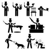 Spectacle de magie de magicien pictogramme de signe symbole icône — Vecteur