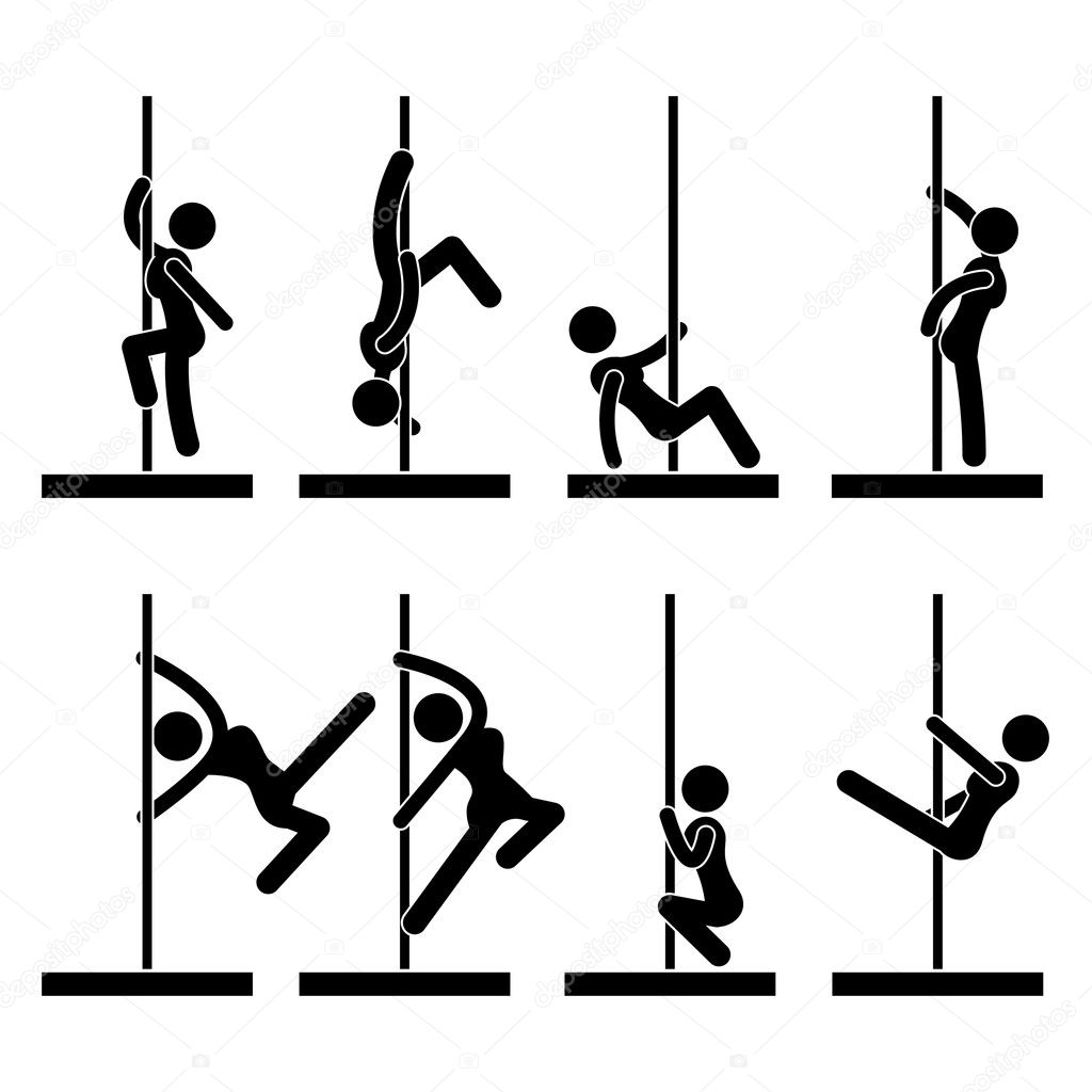 A set of pictograms representing stripper doing pole dancing. — Stock Vector #12307480