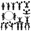 Cheerleader Supporter Team of School College University Icon Symbol Sign Pictogram - Stock Vector