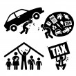 Man Family Financial Problem Burden Stress Pressure Depression Icon Symbol Sign Pictogram — 图库矢量图片