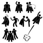 Rescate de héroe superhéroe ayudan a proteger chica mosca icono símbolo signo pictograma — Vector de stock