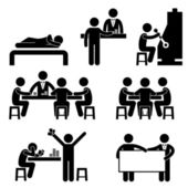 赌博赌场男子主机 croupier 经销商大奖机图标符号符号象形图 — 图库矢量图片