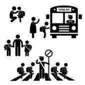 Aluno aluno crianças de volta à escola de ônibus cruzando a estrada tráfego polícia ícone símbolo sinal pictograma — Vetorial Stock