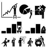 Zakelijke financiën grafiek werknemer werknemer zakenman oplossing pictogram symbool teken pictogram — Stockvector