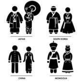 Daleki wschód - japonia południowej korei chiny mongolia człowiek kobieta tradycyjny strój narodowy sukienka odzież ikony symbol znak piktogram — Wektor stockowy