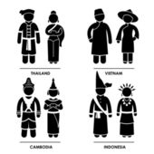 Southeast Asia - Thailand Vietnam Cambodia Indonesia Man Woman National Traditional Costume Dress Clothing Icon Symbol Sign Pictogram — 图库矢量图片