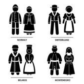 Europa - norvegia svizzera bielorussia montenegro uomo donna costume nazionale tradizionale abito abbigliamento icona simbolo segno pittogramma — Vettoriale Stock
