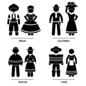 South America - Brazil Colombia Bolivia Chile Man Woman National Traditional Costume Dress Clothing Icon Symbol Sign Pictogram — Stock Vector