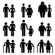 Man Woman Couple Lover Boyfriend Girlfriend Husband Wife Old Young Tall Short Thin Fat Stick Figure Pictogram Icon — Stock Vector #13524908
