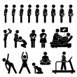 Постер, плакат: Pregnant Pregnancy Stages Process Prenatal Development Mother Baby Exercise Stick Figure Pictogram Icon