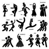 Danse danseur ballet jazz tap ventre salle de bal swing pause latine tango flamenco ligne stick figure pictogramme icône moderne — Vecteur