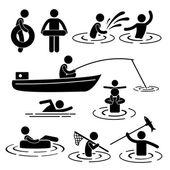 Loisirs enfants natation pêche jouant à rivière eau stick figure pictogramme icône — Vecteur