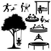Los niños en casa parque jardín patio jardín ocio recreación actividad figura pictograma icono — Vector de stock