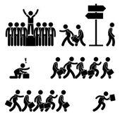 Stående av publiken framgångsrikt företag konkurrens karriär streckfigur piktogram ikon — Stockvektor