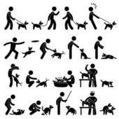 Köpek eğitim piktogram — Stok Vektör
