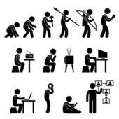 Människans evolution piktogram — Stockvektor