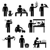 Humano y pictograma de mascotas — Vector de stock
