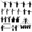 Speaker Presentation Teaching Speech Stick Figure Pictogram Icon — Vettoriali Stock