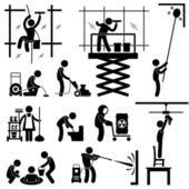 Riskante sauberer arbeiten strichmännchen piktogramm symbol auftrag dienstleistungen gebäudereinigung — Stockvektor
