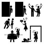 Pervert stalker physco agresseur clignoteur stick figure pictogramme icône — Vecteur