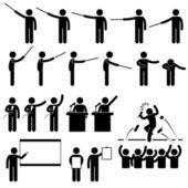 Spreker presentatie onderwijs pictogram pictogram spraak stok figuur — Stockvector