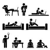 Práce domácí kancelář svoboda životní styl panáček piktogram ikony — Stock vektor