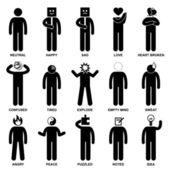 Adam duygu duygu ifade tutum sopa rakam sembol simge — Stok Vektör