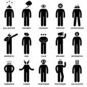 Uomo comportamenti caratteristici mente atteggiamento identità figura stilizzata pittogramma icona — Vettoriale Stock