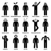 Homme comportement caractéristique esprit attitude identité personnalités stick figure pictogramme icône — Vecteur