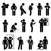 Homem mudando vestindo roupas stick figura ícone de pictograma — Vetorial Stock