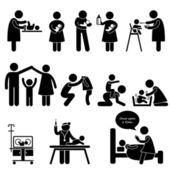 Nanny Mother Father Baby Child Care Stick Figure Pictogram Icon — Stok Vektör