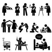 Nounou mère père bébé enfant soin stick figure pictogramme icône — Vecteur