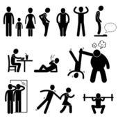 Icône de pictogramme de bonhomme allumette mince mince maigre faible homme — Vecteur