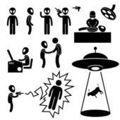 Ufo alien invaders stick figure pictogramme icône — Vecteur