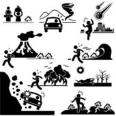 Disaster Doomsday Catastrophe Stick Figure Pictogram Icon — Vettoriale Stock