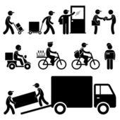 Courrier de livraison homme postier post icône de pictogramme de bonhomme allumette — Vecteur