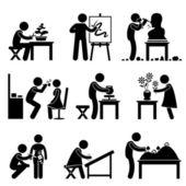 Konst konstnärligt arbete jobb ockupation streckfigur piktogram ikon — Stockvektor