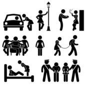 Prostitute Whore Hooker Pimp Stick Figure Pictogram Icon — Stock Vector