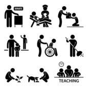 Don de charité bénévole aidant les icône de pictogramme de bonhomme allumette — Vecteur