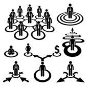 Icône de pictogramme d'affaires homme d'affaires effectif équipe bonhomme allumette — Vecteur