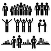 ビジネス ビジネスマン グループ労働者スティック図絵文字アイコン — ストックベクタ