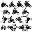 Motorcycle Motorbike Motor Bike Stunt Man Daredevil Stick Figure Pictogram Icon — Stock Vector
