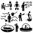 Of the Future Robot Technology Stick Figure Pictogram Icon - Stock Vector