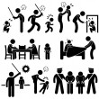 Family Abuse Children Hitting Confine Sexual Harassment Stick Figure Pictogram Icon — Image vectorielle